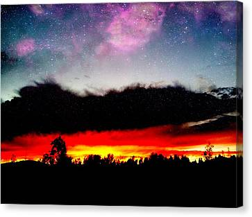 Crazy Sunset Canvas Print by Raven Janush