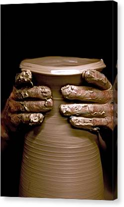 Hand Thrown Pottery Canvas Print - Creation At The Potter's Wheel by Rob Travis