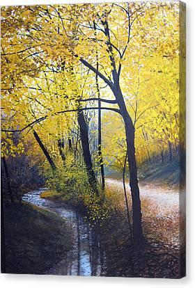 Creek Side Autumn Foliage Canvas Print by David Bottini