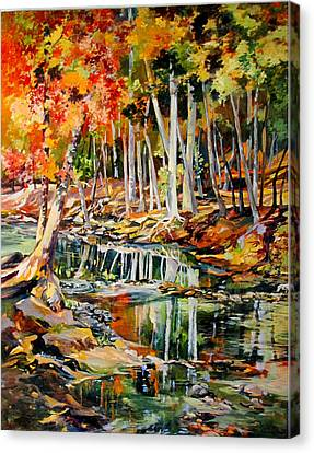 Canvas Print featuring the painting Creekbed Fall Colors by Rae Andrews