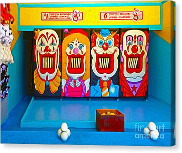 Creepy Clown Game Canvas Print by Gregory Dyer