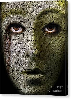 Creepy Cracked Face With Tears Canvas Print by Jill Battaglia