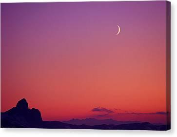 Crescent Moon At Dusk, Garibaldi Park Canvas Print by Stockbyte