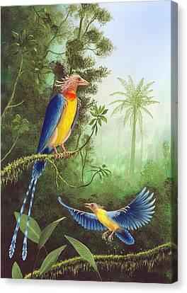 Toothless Canvas Print - Cretaceous Birds, Artwork by Richard Bizley