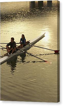 Crew Model Released Rowers Take A Break Canvas Print by Phil Schermeister
