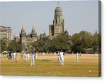 Cricket Match At Azad Maidans In Fort Canvas Print by Hira Punjabi