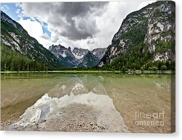Canvas Print featuring the photograph Cristallo Mountains Reflection Dolomites Northern Italy by Charles Lupica