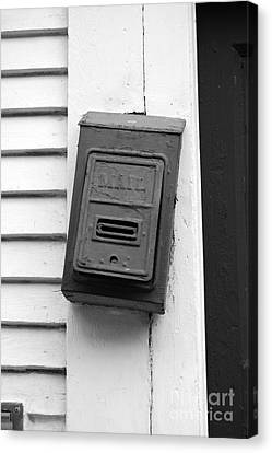 Crooked Old Fashioned Metal Green Mailbox French Quarter New Orleans Black And White Canvas Print by Shawn O'Brien