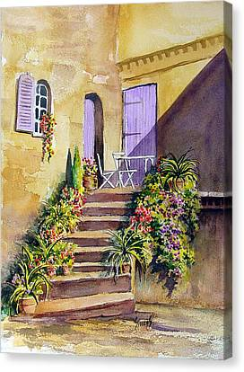 Crooked Steps And Purple Doors Canvas Print by Sam Sidders