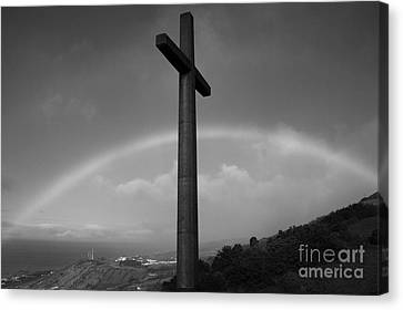 Cross And Rainbow Canvas Print by Gaspar Avila