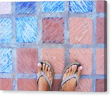 Canvas Print featuring the photograph Cross-legged On A Colorful Sidewalk by Anne Mott
