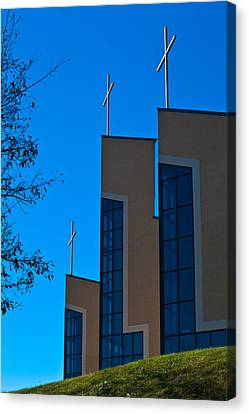 Canvas Print featuring the photograph Crosses Of Livingway Church by Ed Gleichman