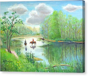 Crossing The Neshaminy Canvas Print by Oz Freedgood