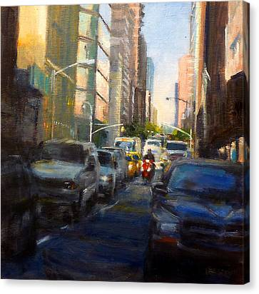 Crosstown On West 58th Canvas Print by Peter Salwen