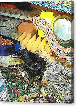 Crow In Rehab Canvas Print by YoMamaBird Rhonda
