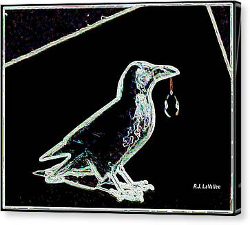 Crow With Crystal 3 Canvas Print