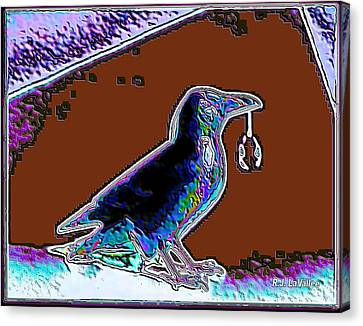 Crow With Crystal 5 Canvas Print