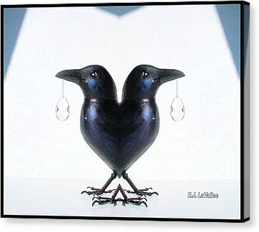 Crow With Crystal 6 Canvas Print