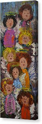 Crowd Of Angels Canvas Print by Kathy  Cuiffi