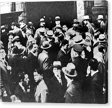 Crowds Outside The New York Stock Canvas Print