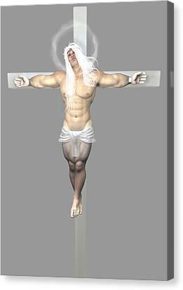 Crucifix Art Canvas Print - Crucified Albinic by Quim Abella