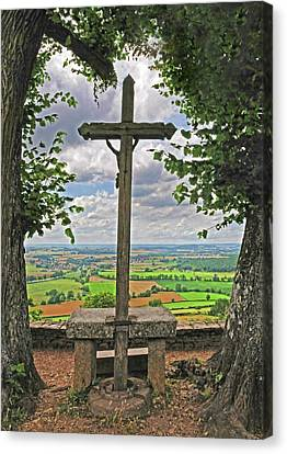 Canvas Print featuring the photograph Crucifix Overlooking The French Countryside by Dave Mills