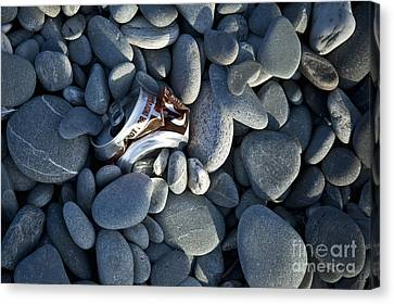 Crushed Can In Rocks Canvas Print by Dave & Les Jacobs