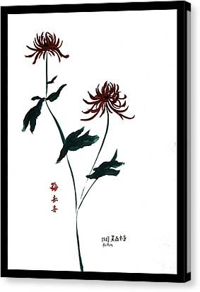 Canvas Print featuring the painting Crysanthamum by Alethea McKee