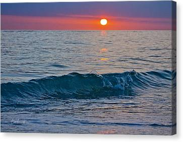 Crystal Blue Waters At Sunset In Treasure Island Florida 3 Canvas Print by Robin Lewis