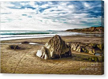 Canvas Print featuring the painting Crystal Cove Sea Shore by Gregory Dyer