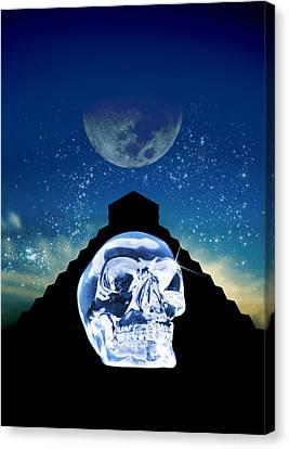 Mayan Mythology Canvas Print - Crystal Skull And Maya Pyramid, Artwork by Victor Habbick Visions