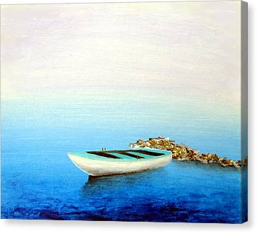 Canvas Print featuring the painting Crystal Water Of The Mediterranean by Larry Cirigliano