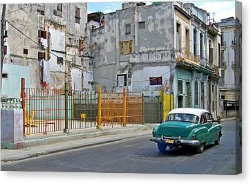 Canvas Print featuring the photograph Cuba Vintage American Car  by Lynn Bolt