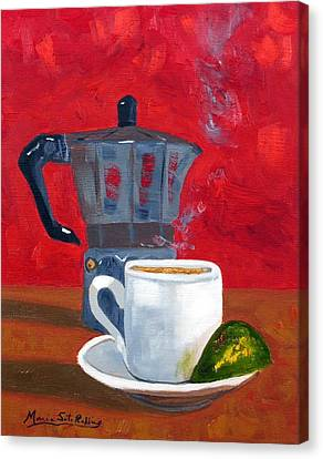 Cuban Coffee And Lime Red 62012 Canvas Print by Maria Soto Robbins