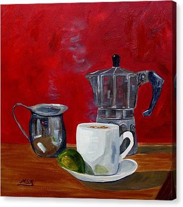 Cuban Coffee Lime And Creamer 2 Canvas Print by Maria Soto Robbins