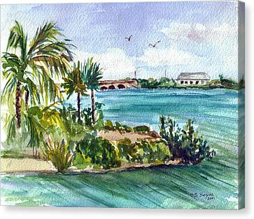 Canvas Print featuring the painting Cudjoe Key Bridge by Clara Sue Beym