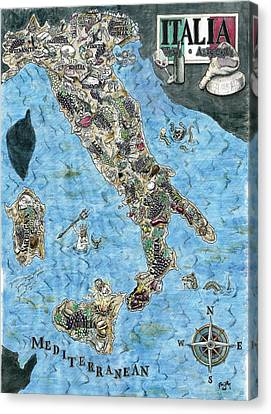 Culinary Map Of Italy Canvas Print by Big Tasty