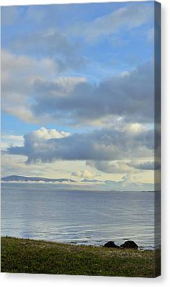 Canvas Print featuring the photograph Cumulus Clouds Sea And Mountains Reykjavik Iceland by Marianne Campolongo