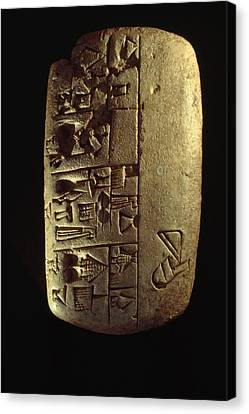Cuneiform Writing Describes Commodities Canvas Print by Lynn Abercrombie