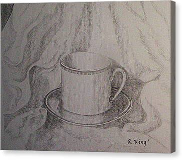 Canvas Print featuring the drawing Cup And Saucer On Material by Roena King