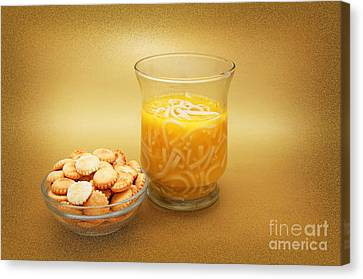Cup O Soup And Oyster Crackers Canvas Print by Andee Design