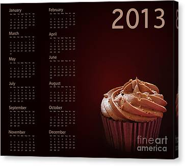Cupcake Calendar 2013 Canvas Print by Jane Rix