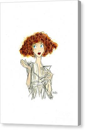 Curly Haired Girl Canvas Print by Turtle Caps