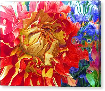 Red And Yellow Dahlia Canvas Print by Kathy Moll