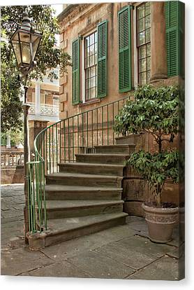 Curved Steps In Savannah Canvas Print by Sandra Anderson