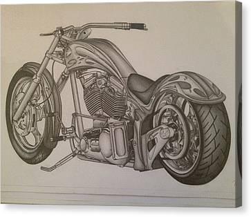 Custom Chopper Canvas Print by Peter Griffen