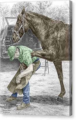 Custom Made - Farrier And Horse Print Color Tinted Canvas Print