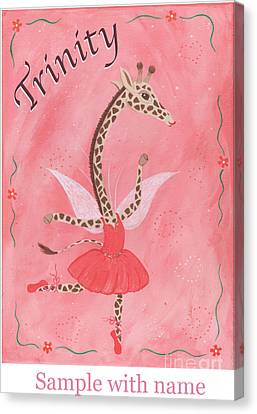 Custom Name Child's Giraffe Ballerina Canvas Print by Kristi L Randall