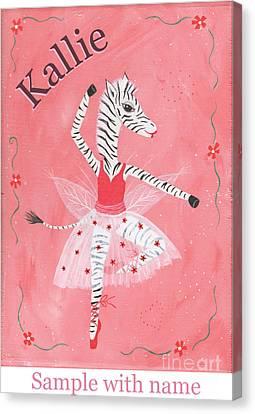 Custom Name Child's Zebra Ballerina Canvas Print by Kristi L Randall
