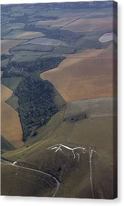 Cut Into A Chalk Hill, A Horse Commands Canvas Print